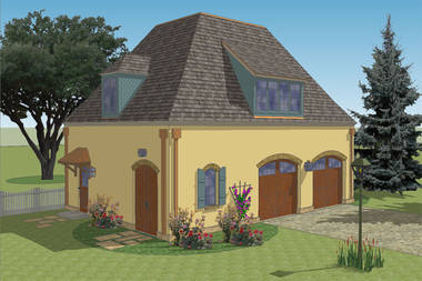 French Country 2 Car Garage Plan