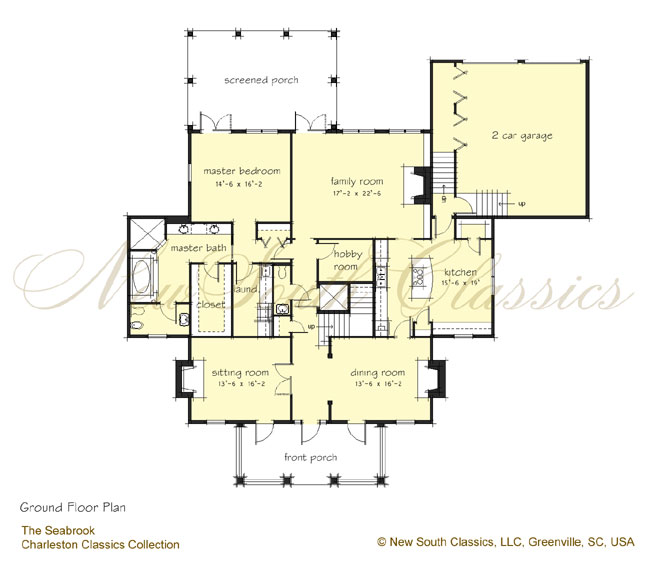 New south classics the seabrook for Elevator floor plan